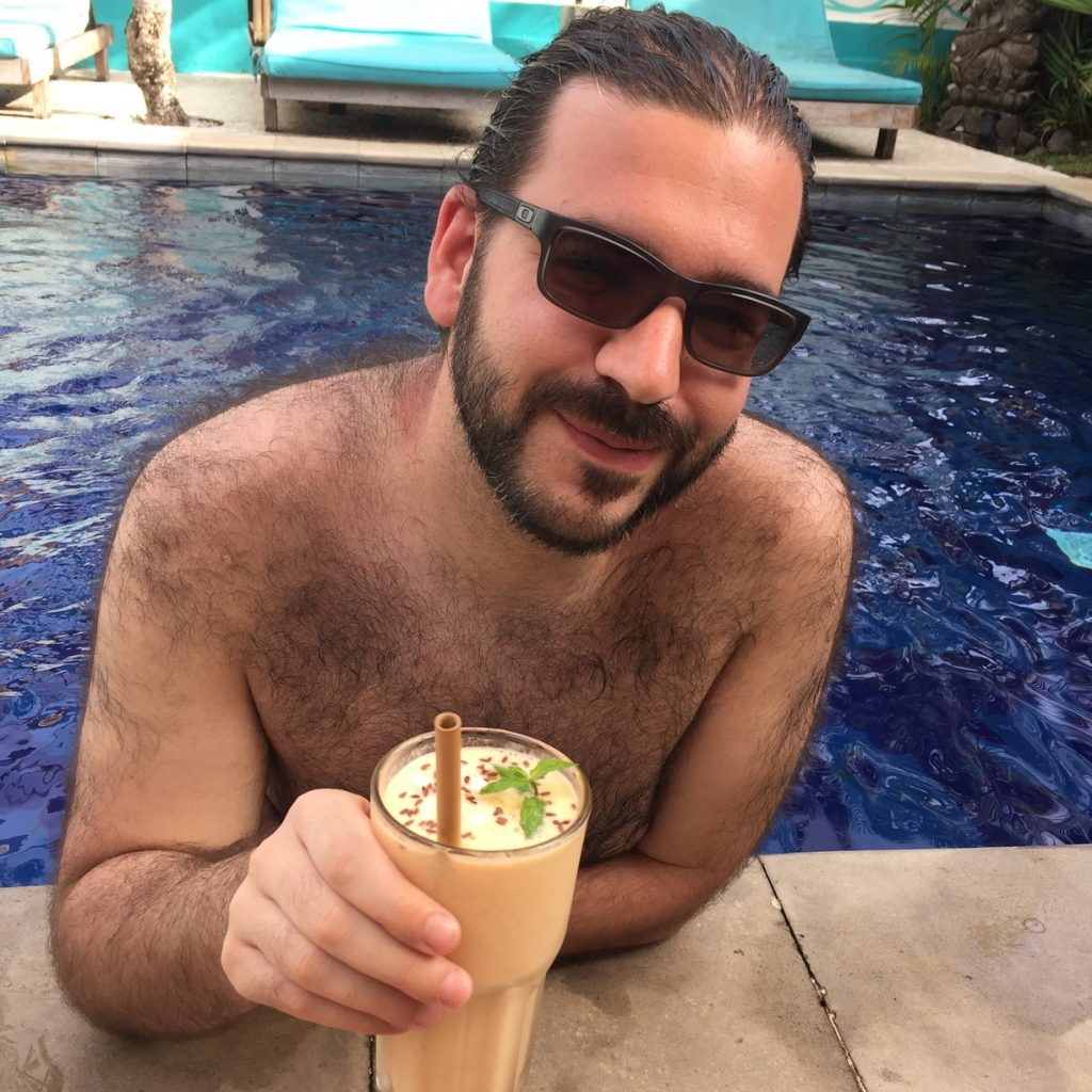 F. enjoying his Tropical Smoothie | 10 must try food in Bali
