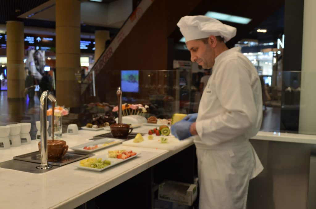 The very engaging chef at Divan Patisserie