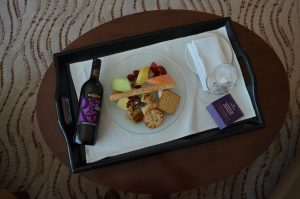 The lovely fruit and cheese platter with wine|Park Regis Kris Kin Hotel