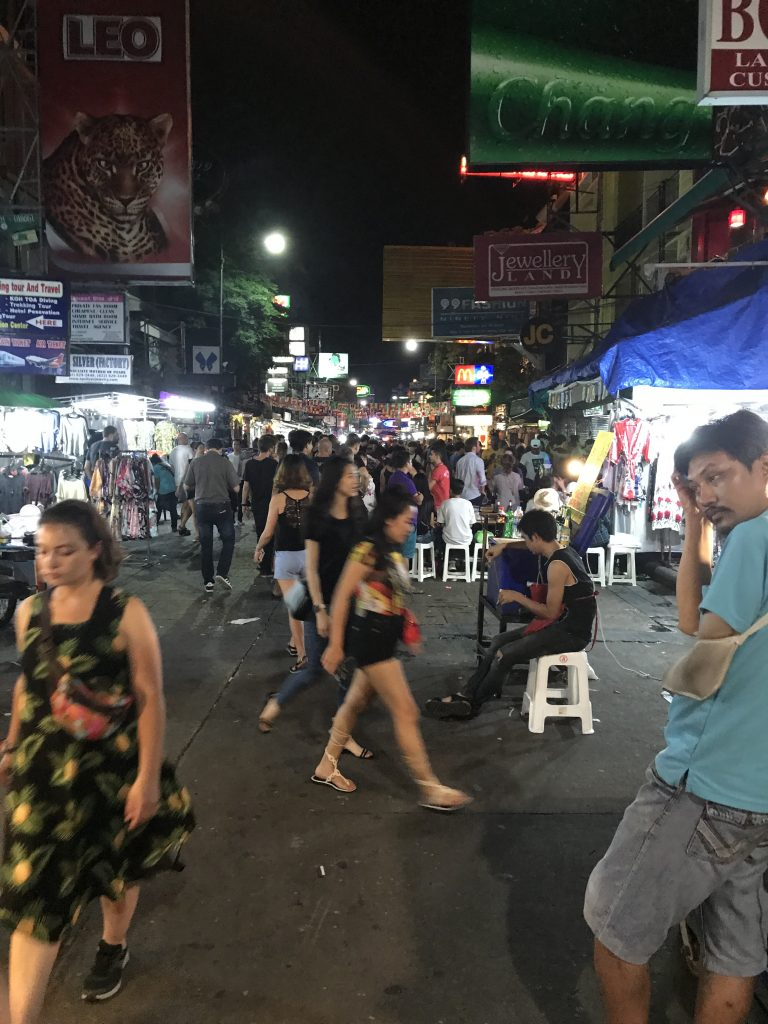 The busy khao san road from my 2 Days in Bangkok itinerary